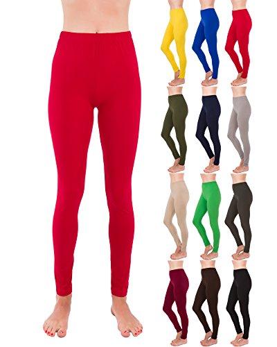 Homma Premium Ultra Soft High Rise Waist Full Length Regular and Plus Size Leggings (3XL/4XL, Red) ()