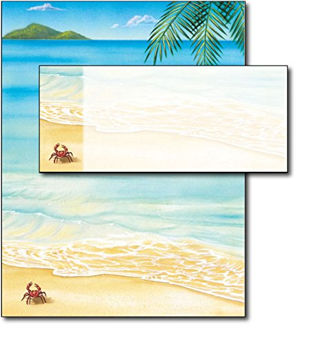 Palm Tree Stationary - Tropical Beach Letterhead & Envelopes - 40 Sets