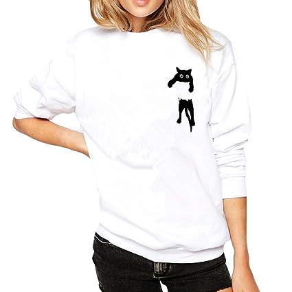 Camisetas Deporte Mujer, ❤ Zolimx Ropa de Mujer Talla Grande de Manga Larga Sólida