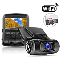 OldShark WiFi Car Dash Cam G12 (with 16GB Card),1080P 2.4 LCD Dashboard Camera with G-Sensor, 170 Degree, Night Vision, Loop Recording, Parking Monitor, WDR,Motion Detection