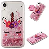 MerKuyom [Crystal Floating Liquid] Case for Apple iPhone XR 6.1-inch, Soft TPU Transparent Flowing 3D Bling Sparkling Glitter Case Cover + Stylus (Pink Fliower Sleeping Unicorn, for iPhone XR)