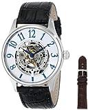 Stuhrling Original Men's 746L.SET.01 Classic Delphi Solaris Automatic Skeleton Silver Dial Strap Watch Set
