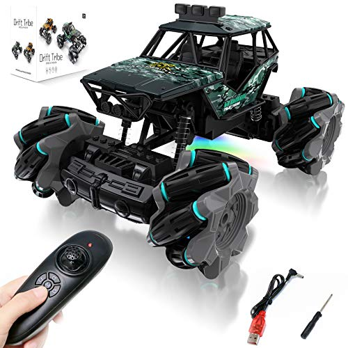 HM Remote Control Car, 4WD Off Road RC Stunt Car Toys for Kids, Durable Faster RC Monster Truck with LED, 360° Rotating…