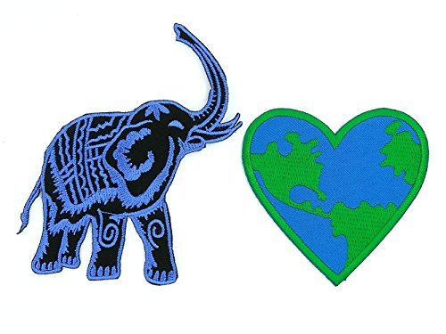 - Peace004 Blue Elephant and Love Earth - 2 Pcs of Applique Embroidered Patches - Blue Elephant Patch (8.5 x 10 Cm.), Love Earth Heart Patches (7.3 x 7 Cm.)