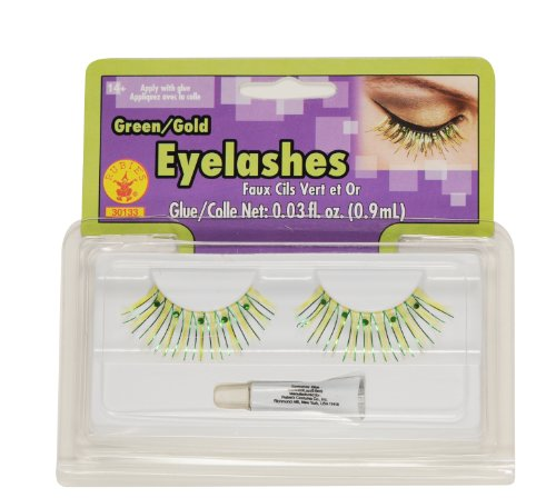 [Rubies Pixie Green and Gold Eyelashes] (Adult Tinkerbell Fairy Costumes)