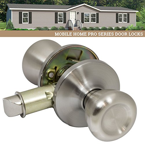bile Home Passage Door Knob Hall Closet Handle, Satin Nickel (Silver Door Knob)