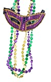 Purple And Gold Mardi Gras Sequin Eye Mask With 3 Multicolored Metallic 32'' Coin Beads