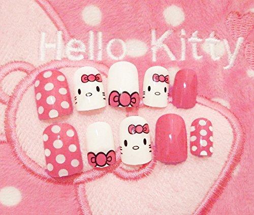 24 Pcs Brown Press On Fake Nails With Cute Carton Designs Short Kawaii False Nail Tips ArtFaux With Glue Sticker hello kitty