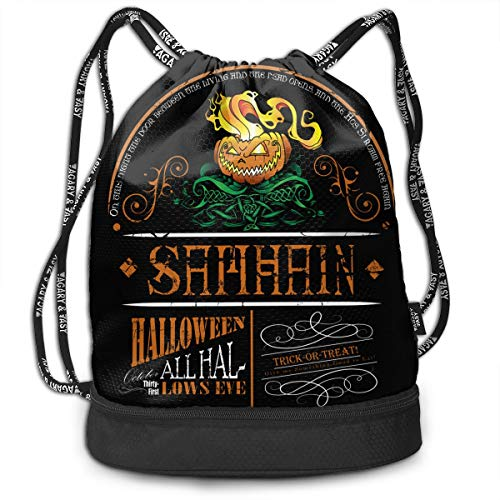 (3D Print Drawstring Backpack - Samhain. Celtic Halloween Portable Shoulder Bags Travel Sport Gym Bag - Yoga Runner Daypack Shoe)