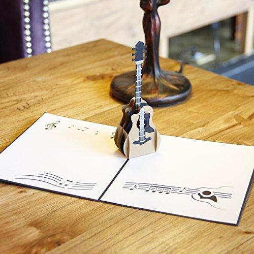 CLSstar 3D Pop Up Card Birthday Gift Greeting Cards Guitar (Guitar Bag Series)