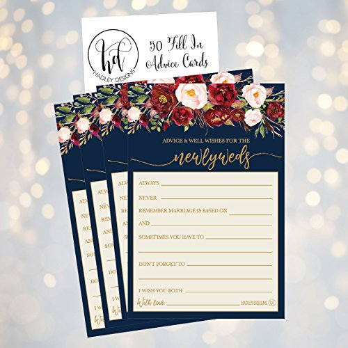 50 4x6 Navy Floral Wedding Advice & Well Wishes For The Bride and Groom Cards, Reception Wishing Guest Book Alternative, Bridal Shower Games Note Marriage Advice Bride To Be, Best Wishes For Mr & Mrs Photo #2