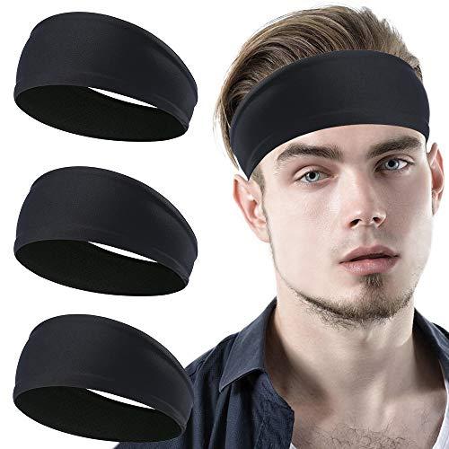 YOSUNPING Sports Headbands & Sweatbands for Men Women and Unisex - Workout Hairbands for Running, Yoga, Tennis, Racquetball, Cross Training, Crossfit, Basketball, Cycling - 3pcs - Black