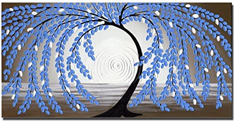Wieco Art Blue Leaves Extra Large Modern Gallery Wrapped Abstract Flowers Artwork 100 Hand Painted Floral Oil Paintings on Canvas Wall Art Ready to Hang for Living Room Home Decor 24×48 Inch XL