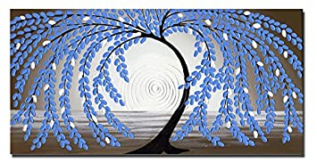 Wieco Art Blue leaves Floral Oil Paintings on Canvas Wall Art Work for Bedroom Kitchen Home Decorations Large Modern Stretched and Framed 100 Hand Painted Contemporary Abstract Flower Artwork L