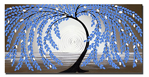 Wieco Art Blue leaves Floral Oil Paintings on Canvas Wall Art Work for Bedroom Kitchen Home Decorations Large Modern Stretched and Framed 100% Hand Painted Contemporary Abstract Flower Artwork L by Wieco Art