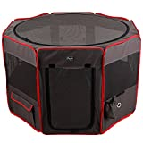 Petsfit 36''Dia x 21H'' Zipper Sealed Bottom Portable Foldable Pop Up Dog Playpen, Exercise Pen,Outdoor Yard