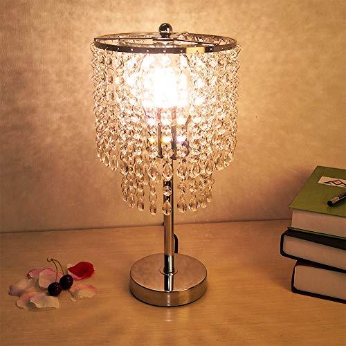 Hsyile Lighting KU300152 Crystal Chandelier For Bedroom Nightstand Table Lamp,Finish Chrome,1 ()