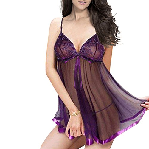 b010c6854a0 Joberry Purple Women Sexy Sleepwear Lace Lingerie Plus Size See Through  Adult Sex Nighty with T