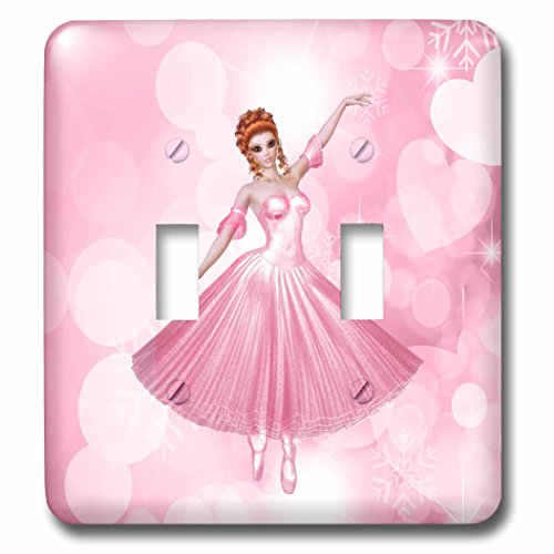 (3dRose Doreen Erhardt Ballet - Pink Ballerina with Heart Shaped Bokeh for Girls - Light Switch Covers - double toggle switch (lsp_264268_2))