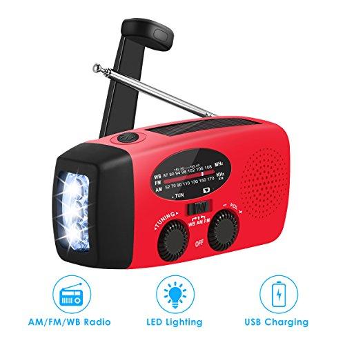 Emergency Weather Radio Portable Emergency Solar Radio Hand Crank Self Powered Phone Charger 3-Led Flashlight Am Fm (Flashlight Crank Mini)