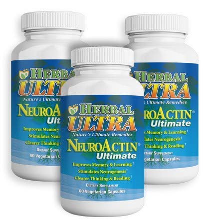 NeuroActin - Memory Vitamins, Elderly Brain Function Supplement for Healthy Brain Focus, Energy, Memory, and Mood Functions - Herbal Ultra - (60 Capsules) - Buy 2 Get 1 Free