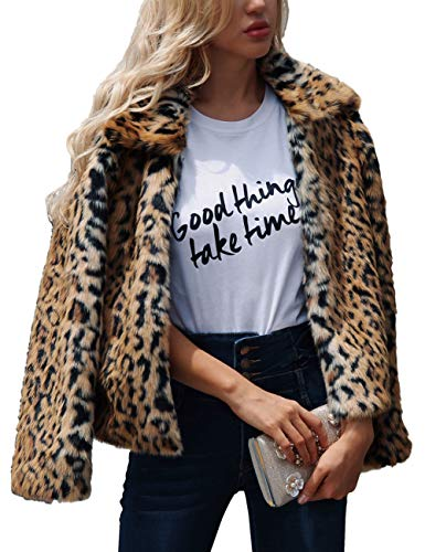 ZLSLZ Womens Ladies Cute Leopard Lapel Faux Fur Long Sleeve Event Waistcoat Jacket (US L, Leopard)