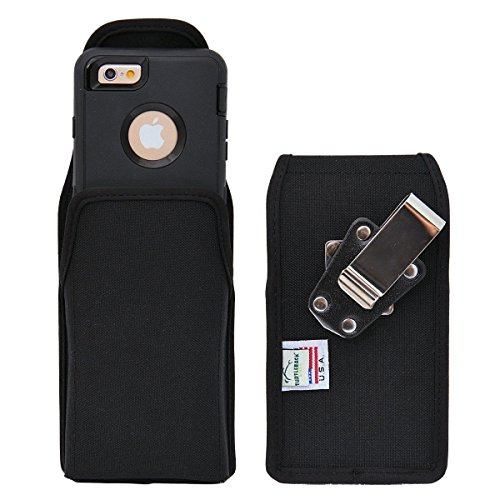 Case compatible with Apple iPhone 6s, iPhone 6 w/Otterbox DEFENDER case Black Vertical Holster Nylon Pouch with Heavy Duty Rotating Belt Clip Made in USA ()