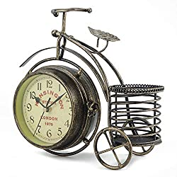 Dyna-Living Double Sided Wall Clock Vintage Iron Metal Silent Quiet Station Wall Clock Black Art Clock Decorative Antique Rustic Bicycle Clock Home Décor