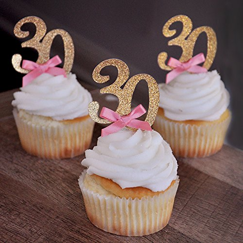 30th Cupcake Toppers Glitter Gold Silver any age  BUY 3 FOR 2