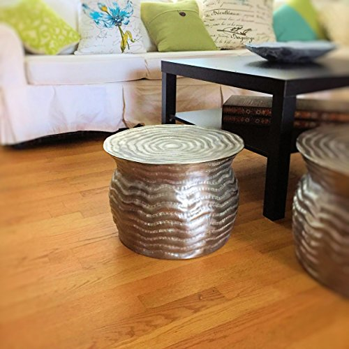 The Global Chic Rain Drum Table, Handcrafted of Silver Aluminum, 1 Ft 3 3/8