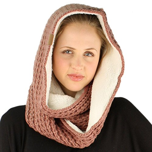 Unisex Fleece Scarf (Winter Warm Soft Sherpa Fleece Thick Knit Loop Infinity Ski Unisex Long Scarf Rose)