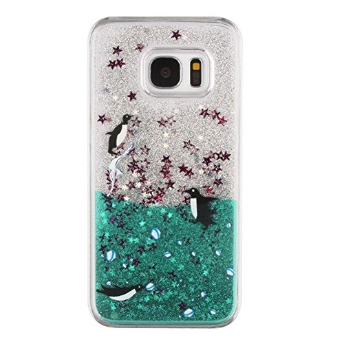 Galaxy S4 Case,Colored Drawing Angel Girl Polar Bear Dolphin Penguin Dandelion Print Floating Bling Glitter Sparkle Liquid Moving Stars Hard PC Case for Samsung Galaxy S4(Penguin)