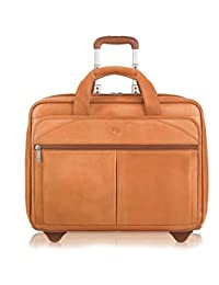 SOLOD Premium Leather 15.6-Inch Laptop Rolling Case, Tan