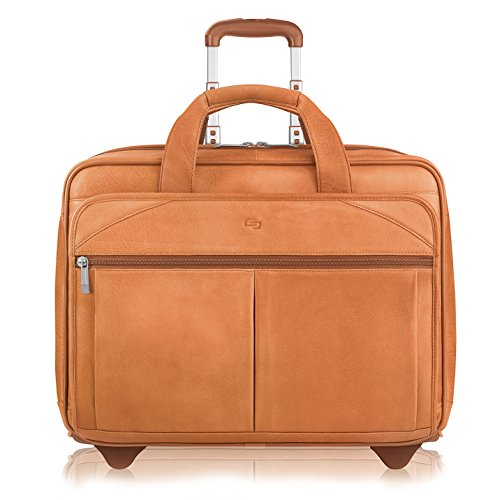 (Solo New York Walker Rolling Laptop Bag. Premium Leather Rolling Briefcase for Women and Men. Fits up to 15.6 inch laptop - Tan)