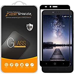 [2-Pack] Supershieldz for ZTE Zmax Pro Tempered Glass Screen Protector, [Full Screen Coverage] Anti-Scratch, Bubble Free, Lifetime Replacement Warranty (Black)