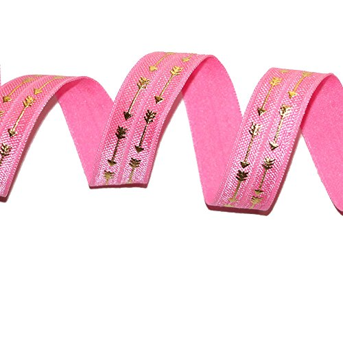 Top Hunter 5/8 10 Yds/Navy Style Gold Arrow Stretch Fold Over Elastic Ribbon Hair Ties HeadBands Variety Color(Pink)