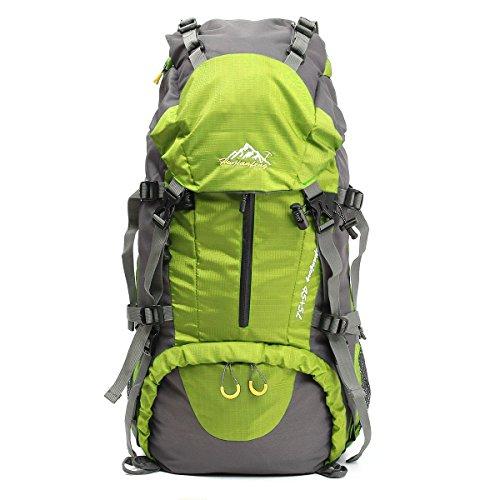 50L Escursionismo Daypacks Zaino Sport all'aria aperta zaino trekking Borse backpacking Borsa resistente all'acqua per pesca di campeggio di viaggio Arrampicata Alpinismo Ciclismo Sci (verde)