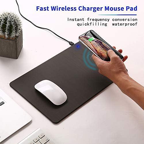 マウスパッド、サムスンギャラクシーS10 / S9 / S8に対応チー認定10Wのワイヤレス充電器ゲーミングマウスマット、プラスノート9/8 iPhoneのX最大/XR/X/XS / 8月8日プラス充電高速ワイヤレス,ブラウン