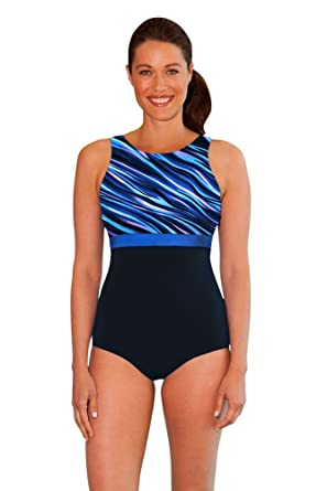 23323d2cc81ba Aquamore Chlorine Resistant Synergy Print Block High Neck One Piece  Swimsuit Size 8