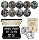STAR WARS Licensed 1977 Washington Quarters Collectible Art 9-Coin Set with BOX and CERTIFICATE