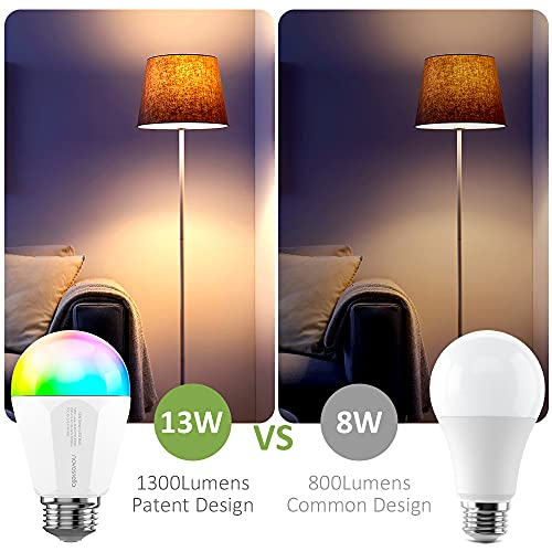 Novostella 13W 1300LM Smart LED Light Bulbs, WiFi RGBCW 2700K-6500K Dimmable Multicolor Bulb, A19 E26, 120W Equivalent Color Changing Bulb, No Hub Required, Compatible with Alexa 1Pcs
