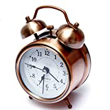 Rise N Shine Copper Dial Vintage Look Table Alarm Clock With Night Led Display
