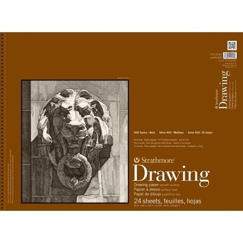 Strathmore 400108 80-Pound 24-Sheet Strathmore Smooth Surface Drawing Paper Pad, 18 by 24-Inch Strathmore Paper 400-108