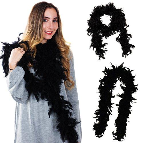 Tigerdoe Black Boas - 2 Pack - Marabou Boas - 72 inch Boas - 20s Costume Accessories - Flapper Costume