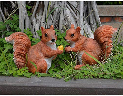 ACAMPTAR Garden Sculpture Outdoor 2 Pieces Miniature Squirrel Sculpture Statue For Home Office Table Decoration Diy…