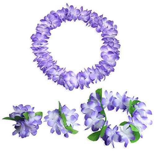 CISMARK Hawaiian Flower Leis Jumbo Necklace Bracelets Headband -