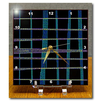Anne Marie Baugh Textures - Blue, Purple, and Black Glass Effect Criss Cross Pattern - 6x6 Desk Clock (dc_168870_1)