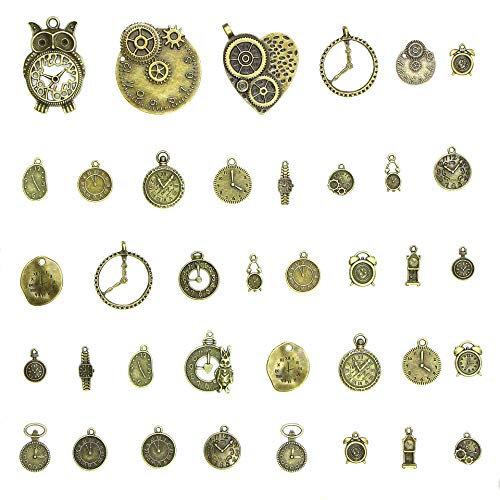 Youkwer 100g(38pcs)Clock Charms for Jewelry Making with Container Box, Wholesale Bulk Lots Antiqued Bronze Clock Face Charm Pendant DIY for Necklace Bracelet Jewelry Making and Crafting (Clock Charms)