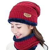 VORCOOL Winter Hat,Winter Men and Women Velvet Thickening Wool Cap Knit Hat Scarf Suit(Crimson)
