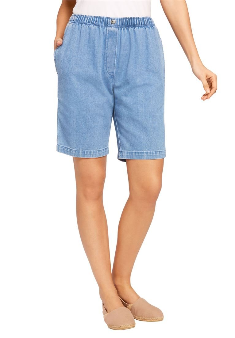 Woman Within Women's Plus Size Mock Fly Cotton Jean Short